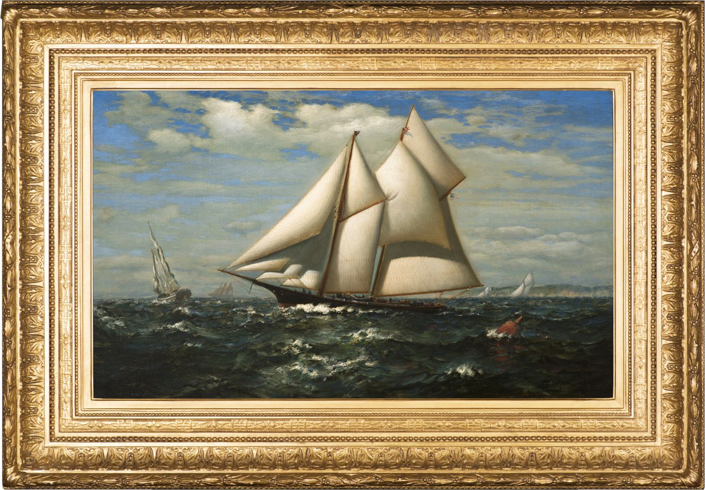 James Gale Tyler (1855–1931), The Yacht, Water Witch, oil on canvas, 18 x 30 in., signed lower right: James G. Tyler (framed)