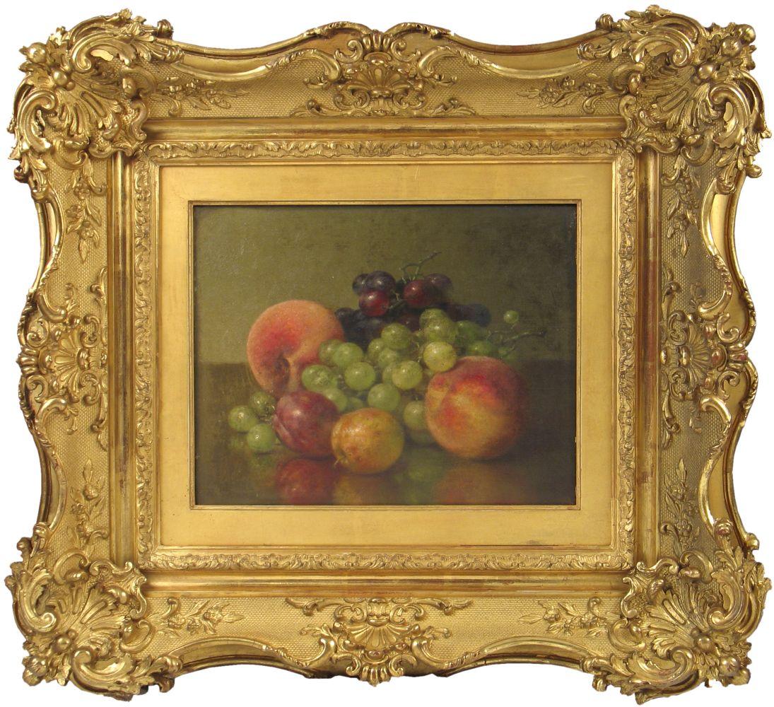 Robert Spear Dunning (1829–1905), Fruit Still Life, 1902. oil on canvas, 9 x 11 3/4 in., signed lower left: R.S. Dunning, inscribed on verso: R.S. Dunning / 1902 / Fruit  (framed)