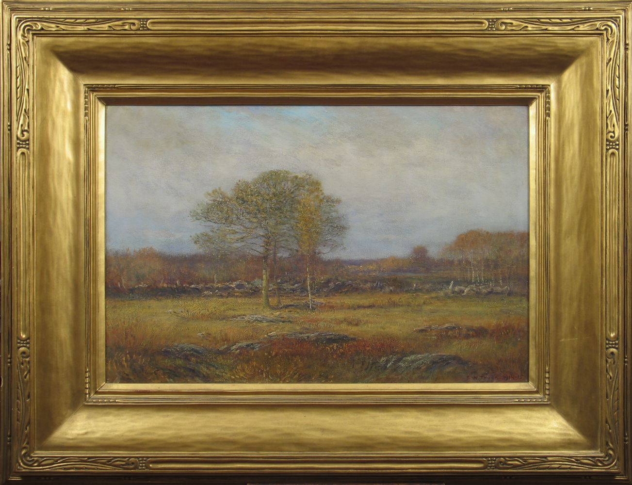 Dwight William Tryon (1849–1925), Autumn Fields, 1914-15, oil on panel, 16 x 24 in., signed and dated lower right: D. W. Tryon 1914–15