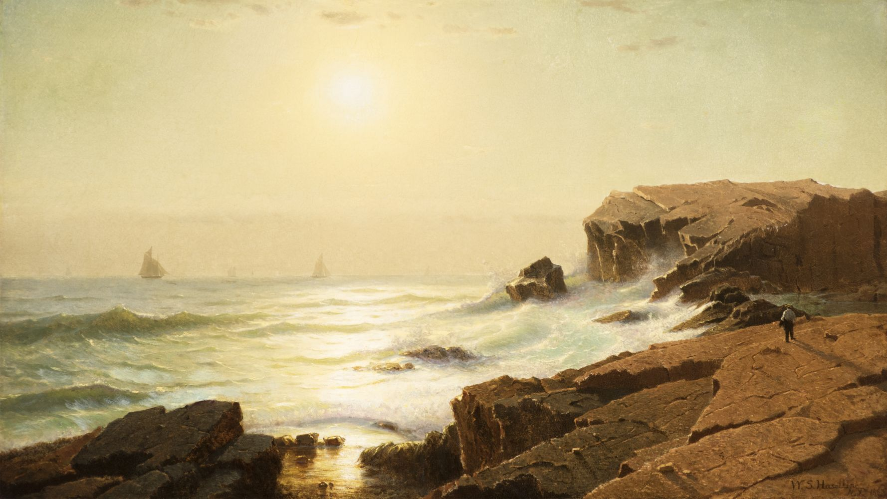 William Stanley Haseltine (1835–1900), Sunrise at Narragansett, Rhode Island, 1863, oil on canvas, 18 1/4 x 31 3/4 in., signed and dated lower right: W.S. Haseltine, N.Y. 1863