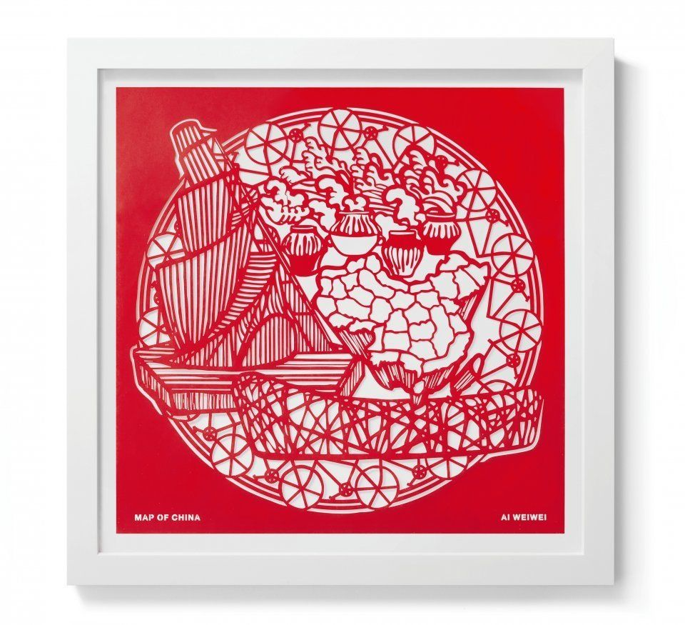 Ai Weiwei  Map of China (The Papercut Portfolio), 2019  papercut  23 5/8 x 23 5/8 inches  Edition 51 of 250