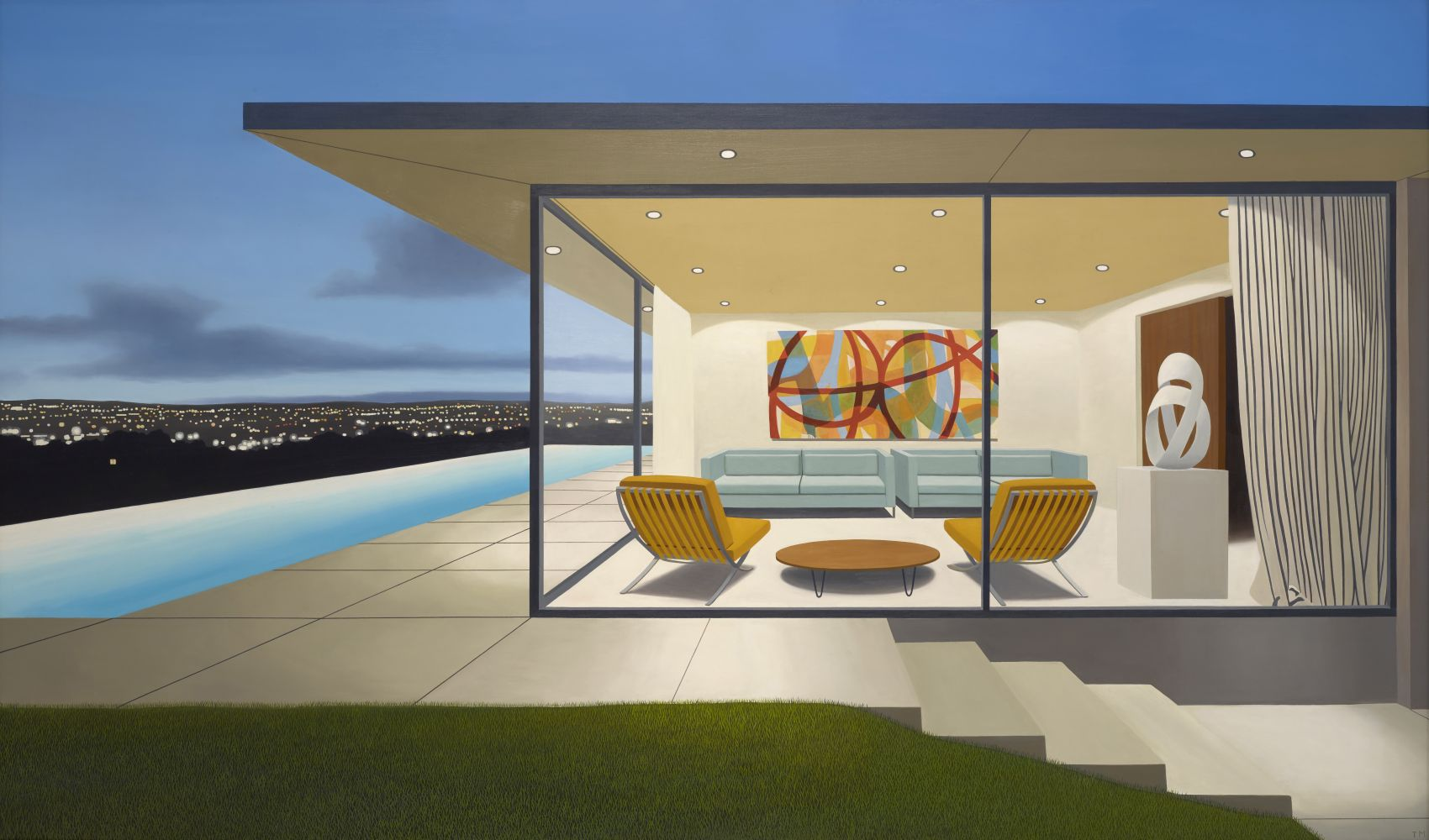 Tom McKinley  Kidd House, 2019  oil on panel  45 x 72 inches