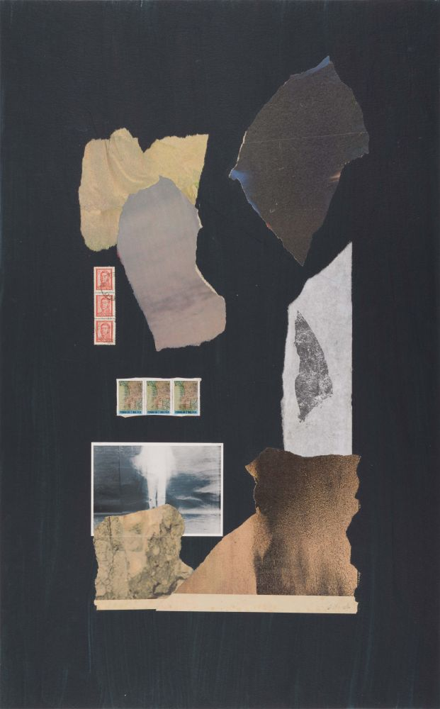 Dorothy Hood The White Man of Bolivia, c. 1980-90s collage on mat paper: 32 x 20 inches frame: 34 3/4 x 22 3/4 inches