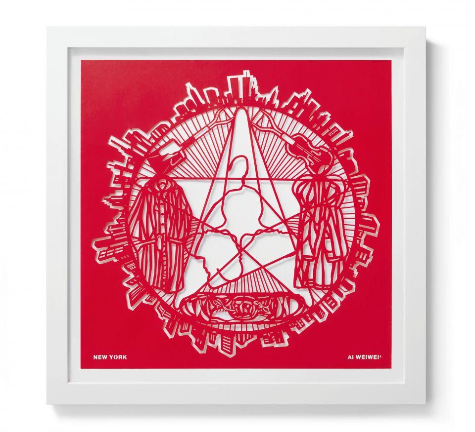 Ai Weiwei  New York (The Papercut Portfolio), 2019  papercut  23 5/8 x 23 5/8 inches  Edition 51 of 250