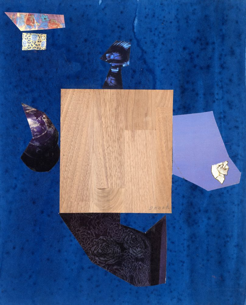 Dorothy Hood Azure with Wood, c. 1980-90s collage on mat paper: 20 x 16 1/8 inches frame: 22 1/2 x 18 1/2 inches