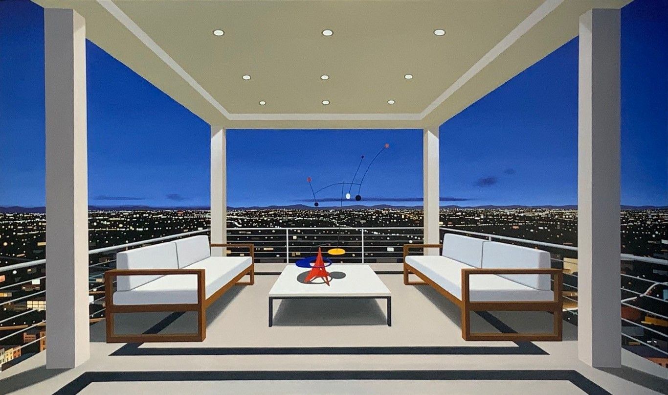 Tom McKinley  Box Seat, 2019  oil on panel  44 x 74 inches  $48,000