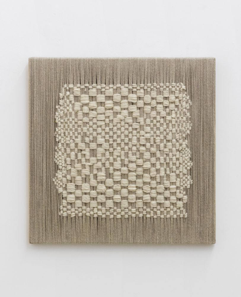 Sheila Hicks  Trying to be warp & wept, 2020  linen and wool on wood and aluminum  23 5/8 x 23 5/8 inches  $82,000