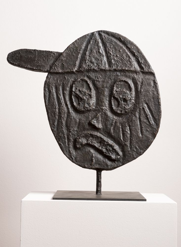 Donald Baechler HEAD 2, 2014 bronze 15 x 20 x 2 inches Edition 1 of 8,
