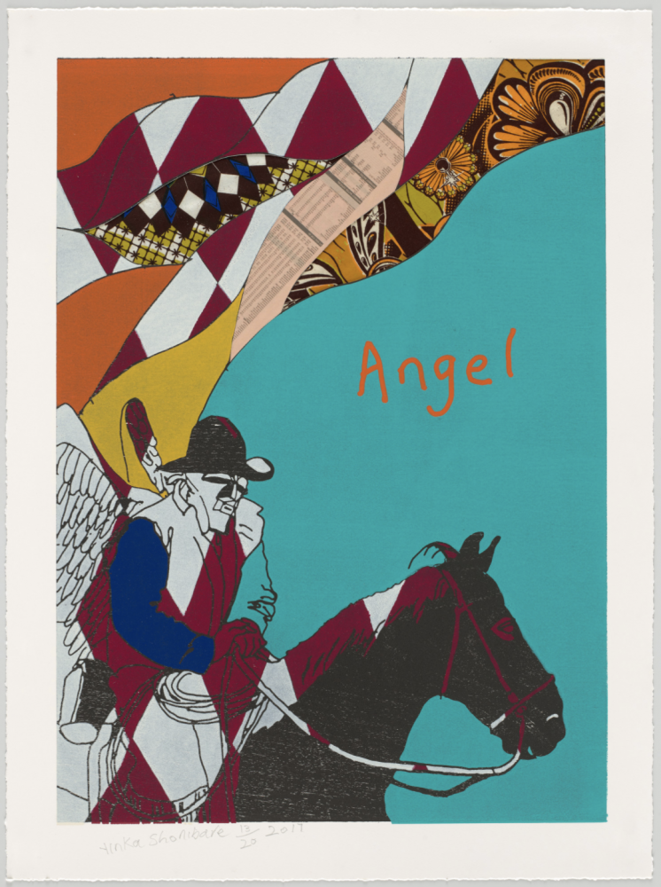 Yinka Shonibare Cowboy Angel I (From Cowboy Angels Portfolio), 2017 woodcut with fabric collage on Sumerset Tub Sized Satin 410gsm paper 37.2 x 27.56 inches (94.5 x 70 centimeters) Edition 14 of 20
