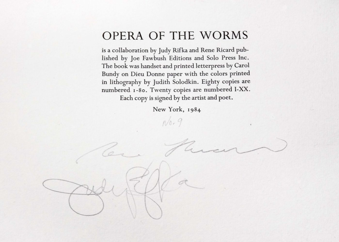Judy Rifka and Rene Ricard Opera of the Worms, 1984