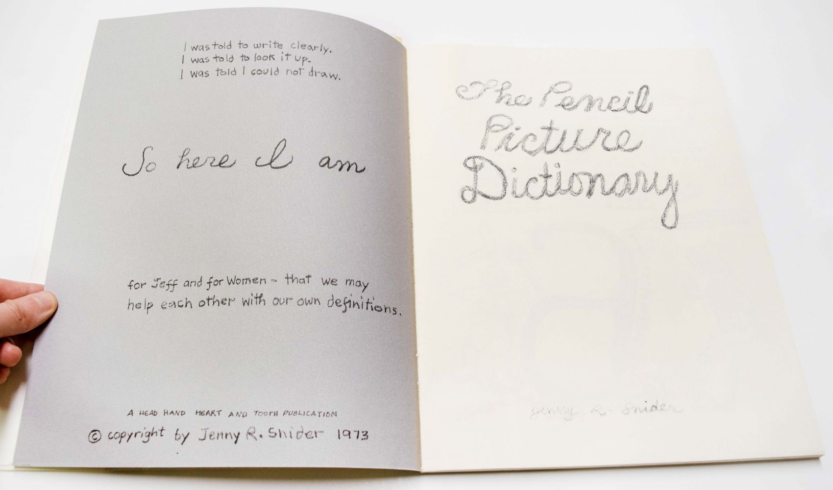 Jenny R. Snider The Pencil Picture Dictionary, 1973