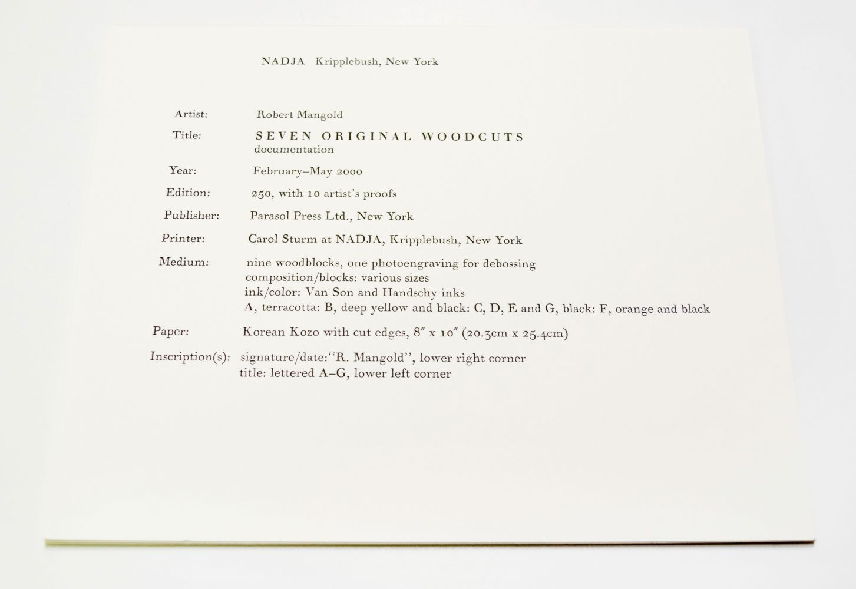 Robert Mangold Prints 1968-1998, 2000
