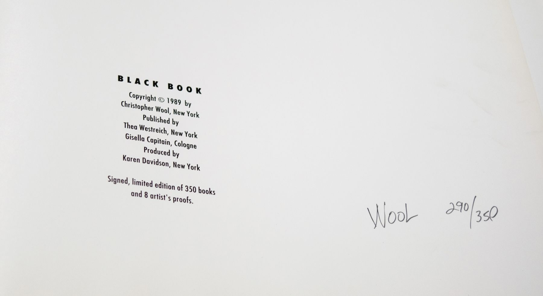 Christopher Wool Black Book, 1989