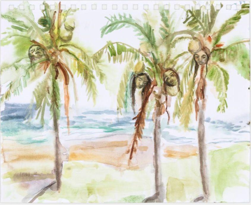 miguel calderón, amenaza cocotera (coconut threat), kurimanzutto, ciudad de méxico, 2020