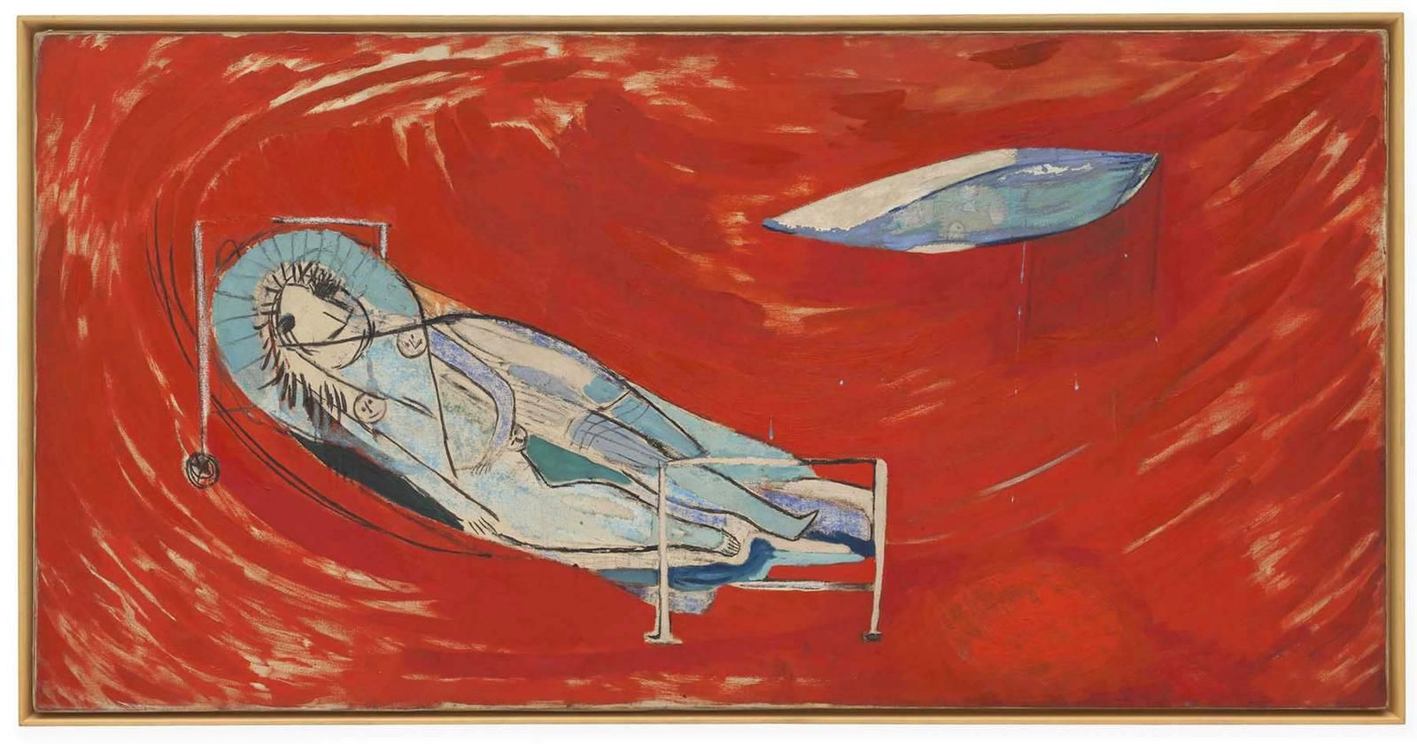Louise Bourgeois Red Night 1946-48 oil on linen 30 x 60 inches (76.2 x 152.4 cm)  The George Economou Collection