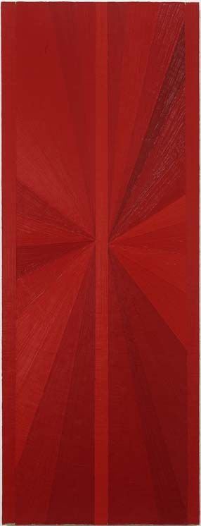 Mark Grotjahn Untitled (Red Butterfly Over Lime Green) 2002 oil on linen 50 x 19 inches (127 x 48.3 cm)  Private collection