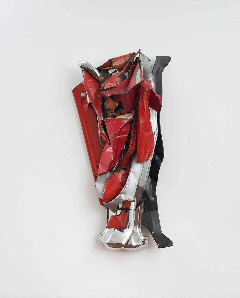 John Chamberlain Funn 1978 painted and chromium-plated steel 80 x 41 x 21 inches (203.2 x 104.1 x 53.3 cm)  Private collection