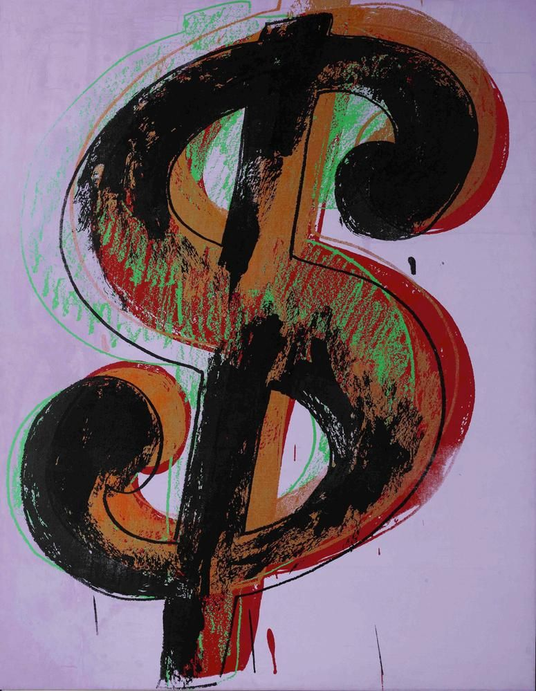 Andy Warhol Dollar Sign 1981 acrylic and silkscreen ink on canvas 90 3/16 x 70 1/8 inches (229.1 x 178.1 cm)