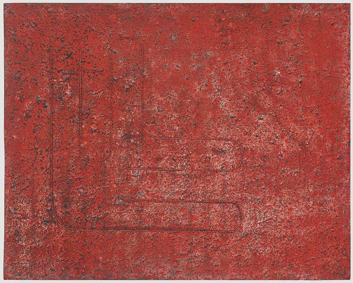 Donald Judd Untitled 1961 acrylic and sand on Masonite 48 x 60 inches (121.9 x 152.4 cm)  The George Economou Collection