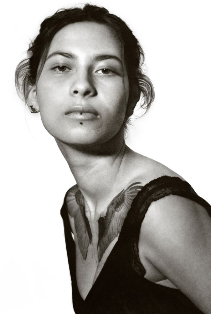 Clio Newton, Thivya, 2020, compressed charcoal on paper, 88 3/8 x 58 inches