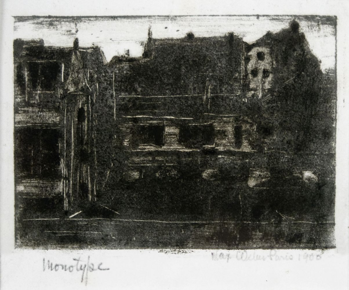 Max Weber, Cityscape, Paris, 1906, monotype, 3 5/8 x 5 1/8 inches