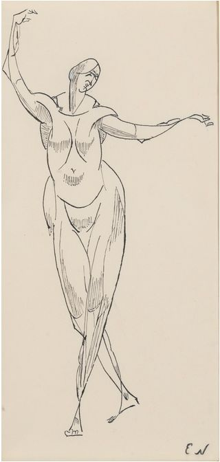 Elie Nadelman, Standing Female Nude, c. 1907, black ink on paper, 12 3/8 x 5 7/8 inches