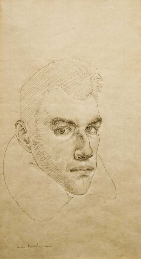 Jules Kirschenbaum, Self-Portrait, circa 1954 pencil on paper 15 3/4 x 8 5/8 inches
