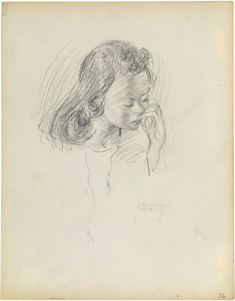 Charles White, Young Woman with Hands at Mouth, c.1935-38 pencil on paper 9 7/8 x 7 1/2 inches