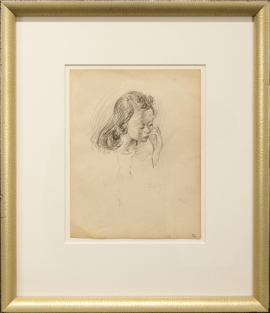 Charles White, Young Woman with Hands at Mouth, c. 1935 - 1938, pencil on paper, 9 7/8 x 7 1/2 inches