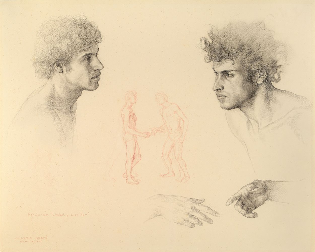 Two Heads and Hands (Study for Luzbel and Lucifer), 1983, pencil on paper, 15 3/4 x 19 1/2 inches