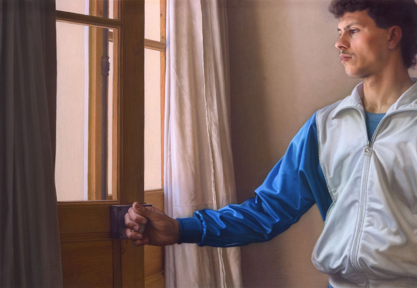 Claudio Bravo, Opening the Door, 1991, pastel on paper, 29 1/8 x 40 1/8 inches