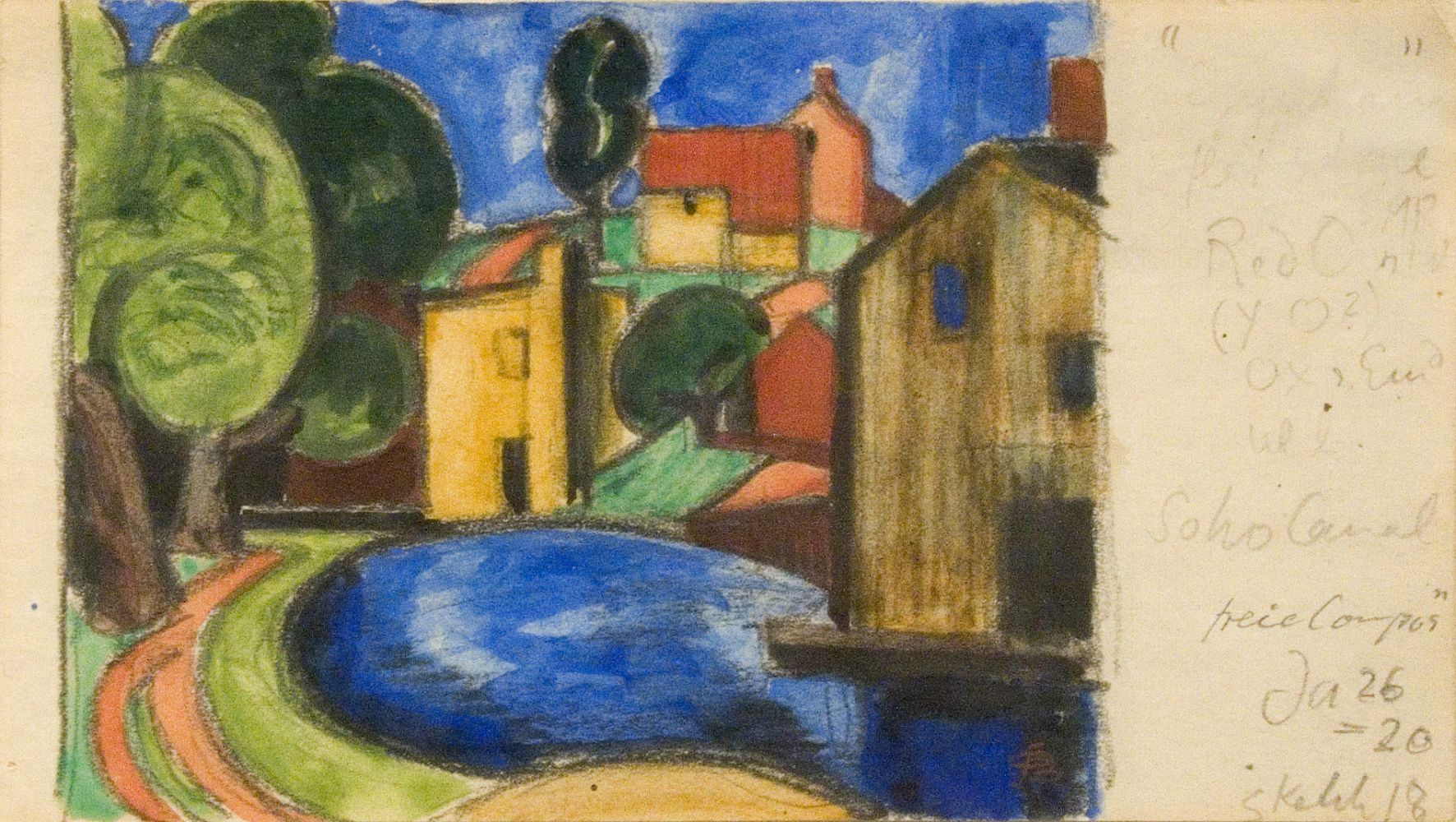 Oscar Bluemner, Soho Canal, 1920, watercolor and pencil on paper, 3 1/8 x 5 3/4 inches