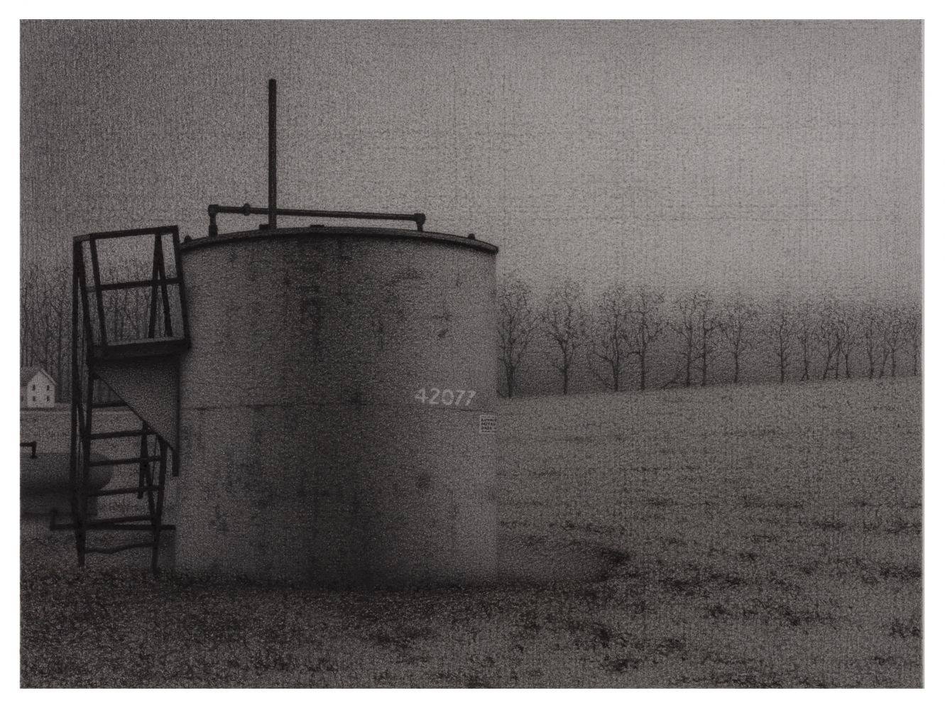 Anthony Mitri, Ohio Oil, September, 2020, charcoal on paper, 7 7/8 x 10 5/8 inches