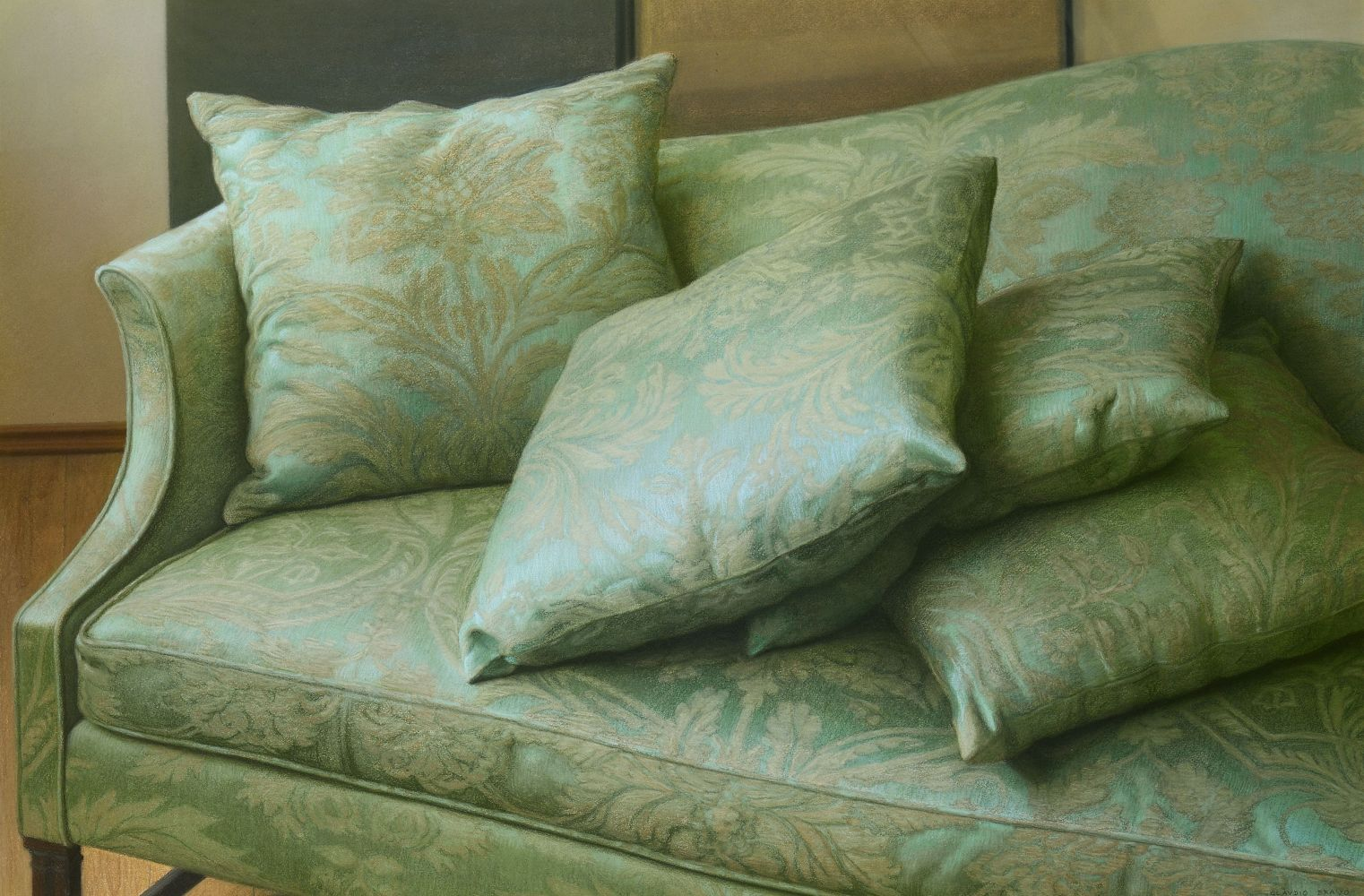 Green Sofa, 1991, pastel on paper, 31 1/4 x 45 7/8 inches