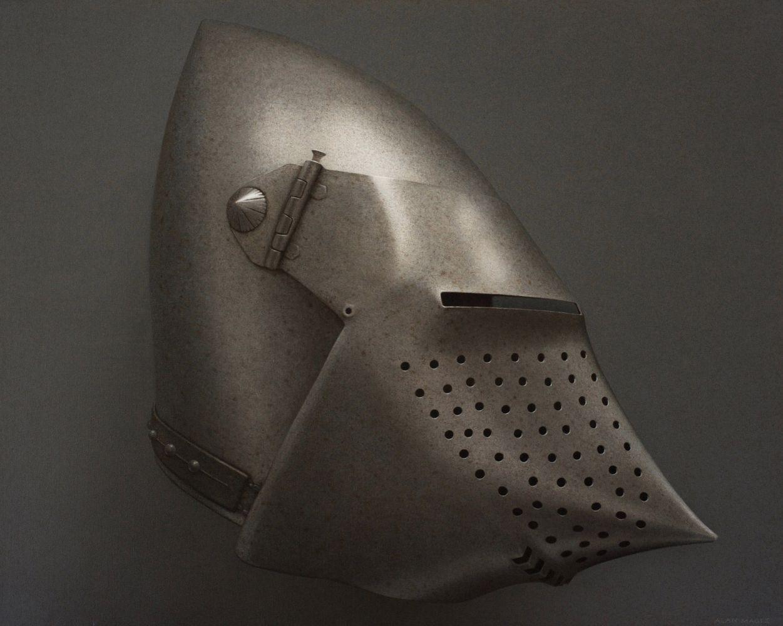Alan Magee, Helmet II, 2019, acrylic on canvas, 40 1/8 x 50 1/8 inches