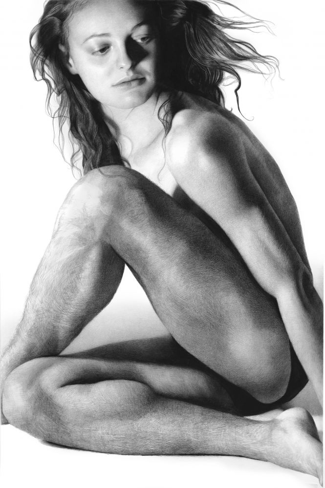 Remi Gazing, 2019, compressed charcoal on paper, 88 1/2 x 58 inches