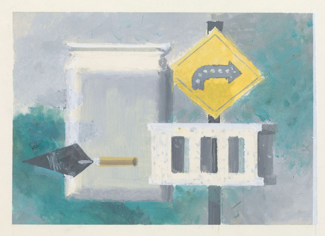 Walter Murch, Directions, 1951-57, gouache and pencil on paper, 9 3/8 x 11 3/8 inches