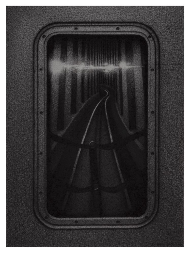 Anthony Mitri, Hind Sight 2, D Train, NYC, 2020, charcoal on paper, 7 1/2 x 5 1/2 inches