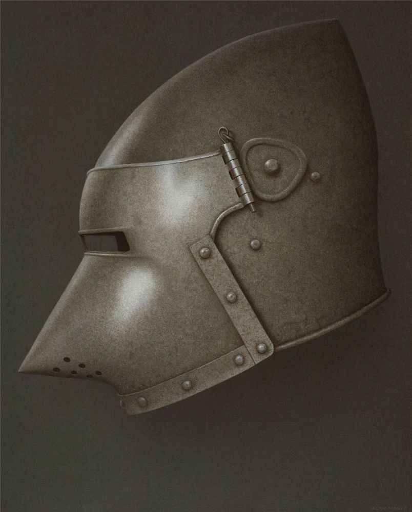 Alan Magee, Helmet VII, 2020, acrylic on canvas, 50 1/8 x 40 1/8 inches