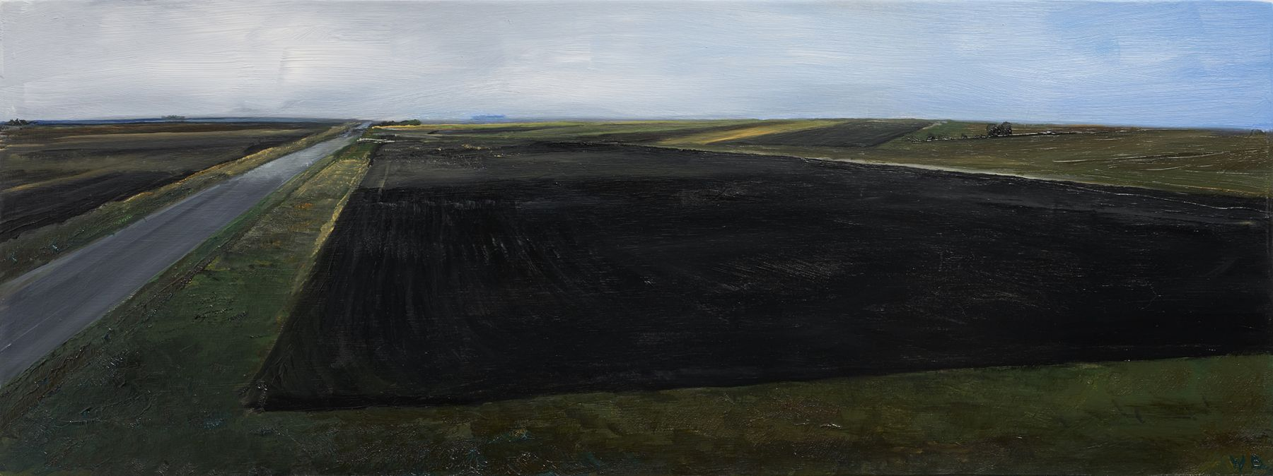 William Beckman Montana Plowed Field #1, 2020 oil on panel 7 x 18 1/4 inches