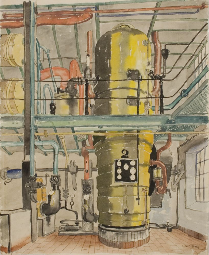 Carl Grossberg, The Yellow Boiler (Der Gelbe Kessel), 1933, watercolor and ink on fabriano paper, 19 5/8 x 15 3/4 inches