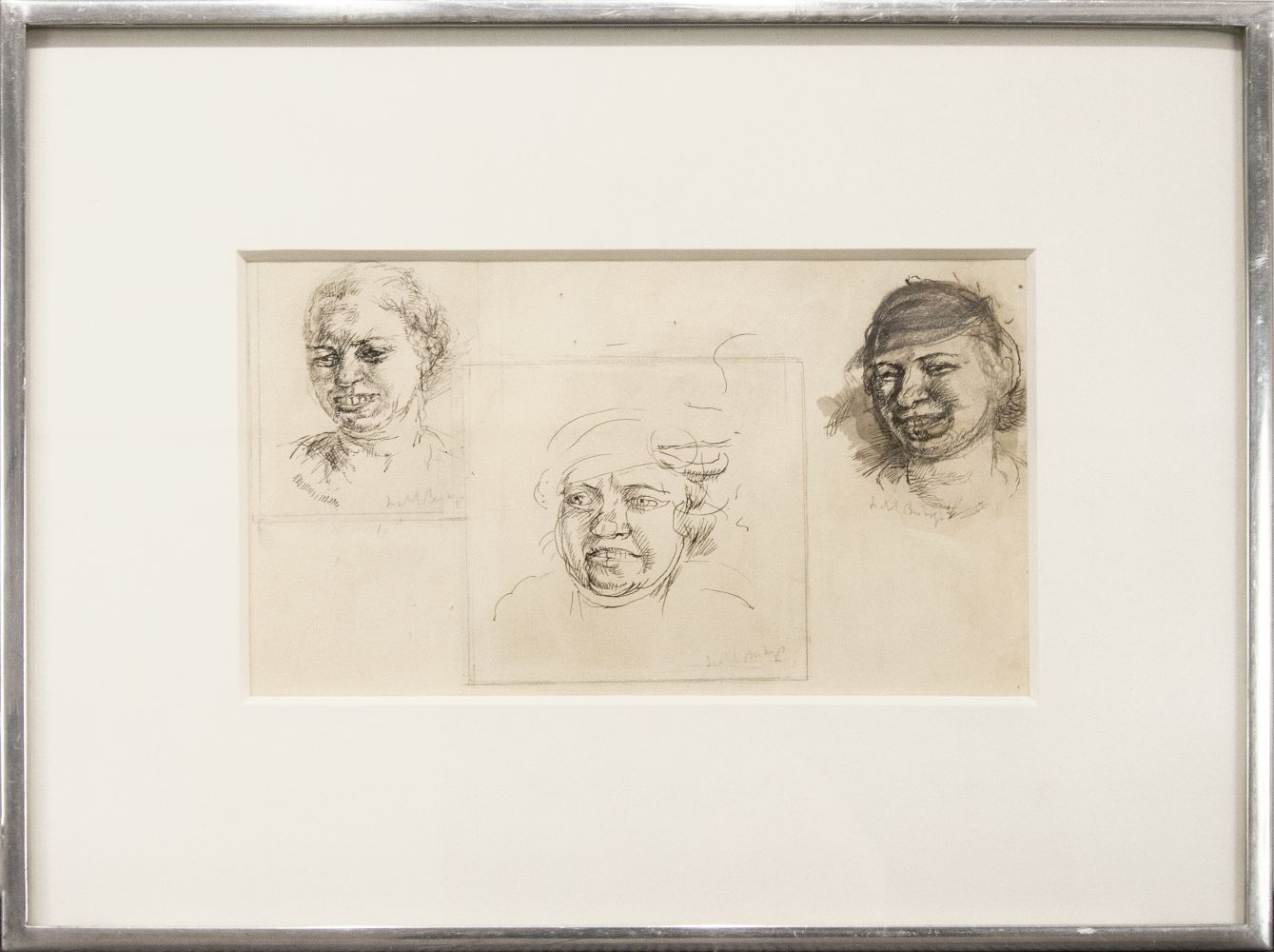 Isabel Bishop, Laughing Heads, Study Drawings, c. 1934, ink on paper, 7 x 9 1/4 inches