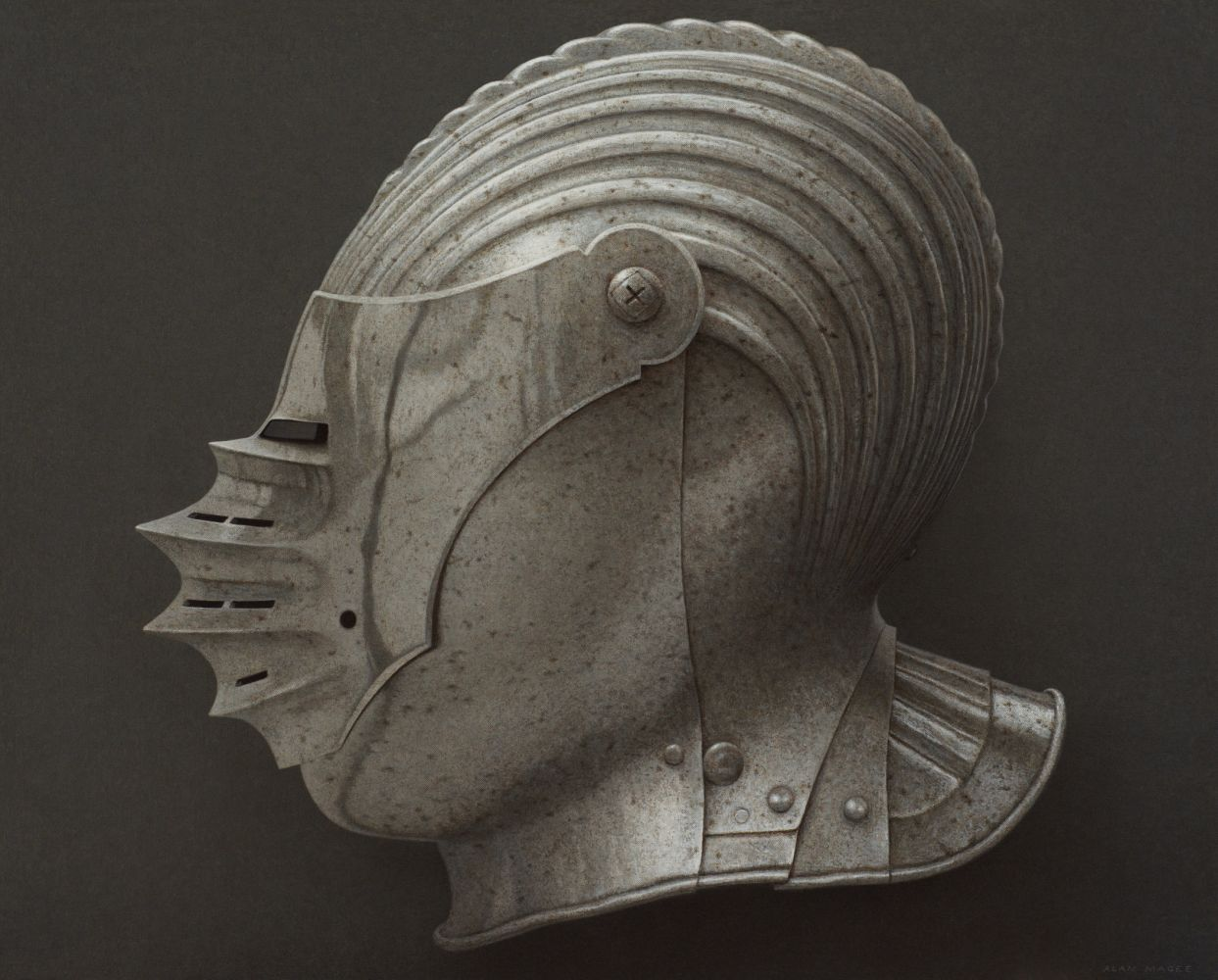 Alan Magee, Helmet IV, 2019, acrylic on canvas, 40 1/8 x 50 1/8 inches