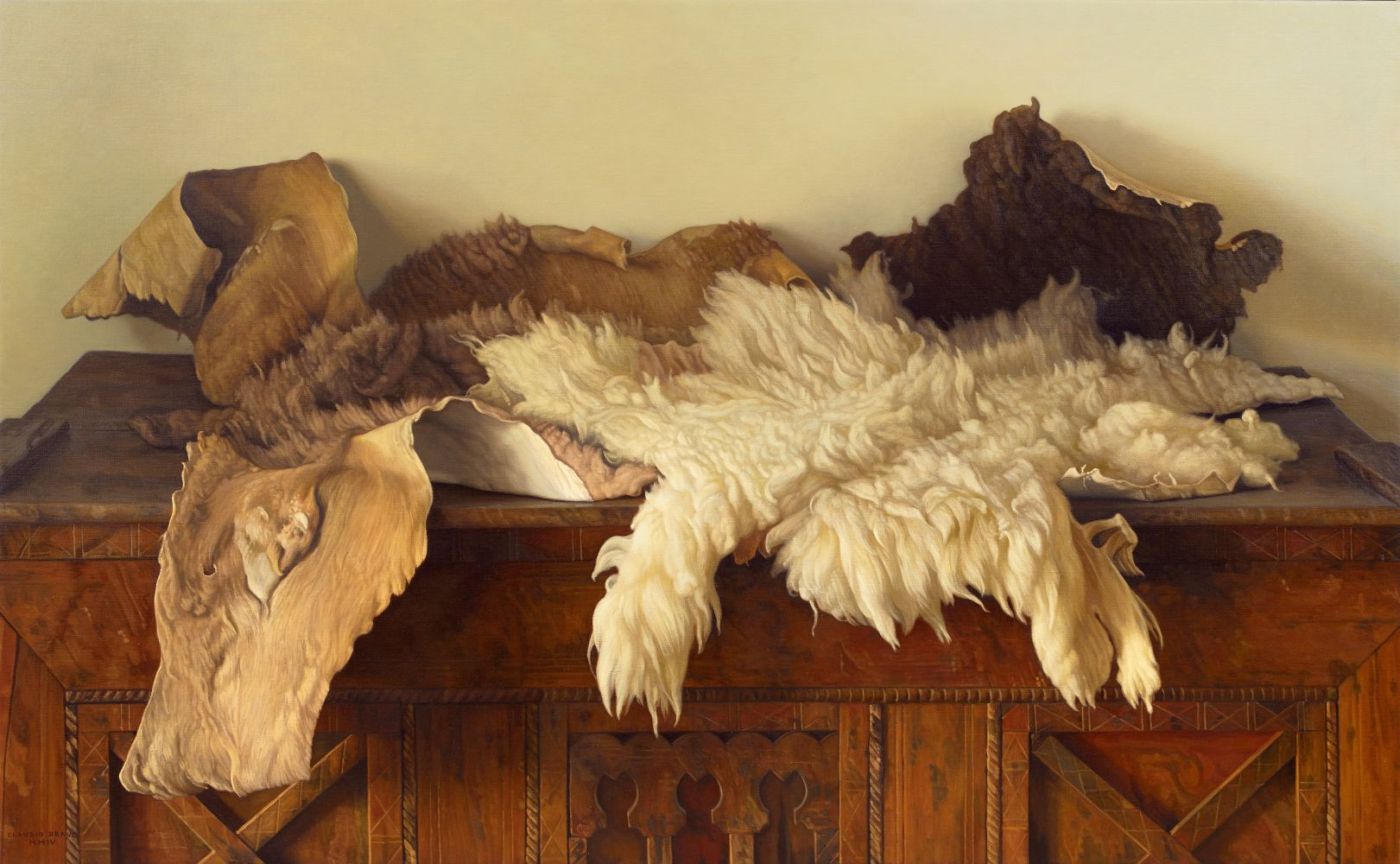 Camel and Lamb Skins, 2004, oil on canvas, 35 x 57 1/8 inches