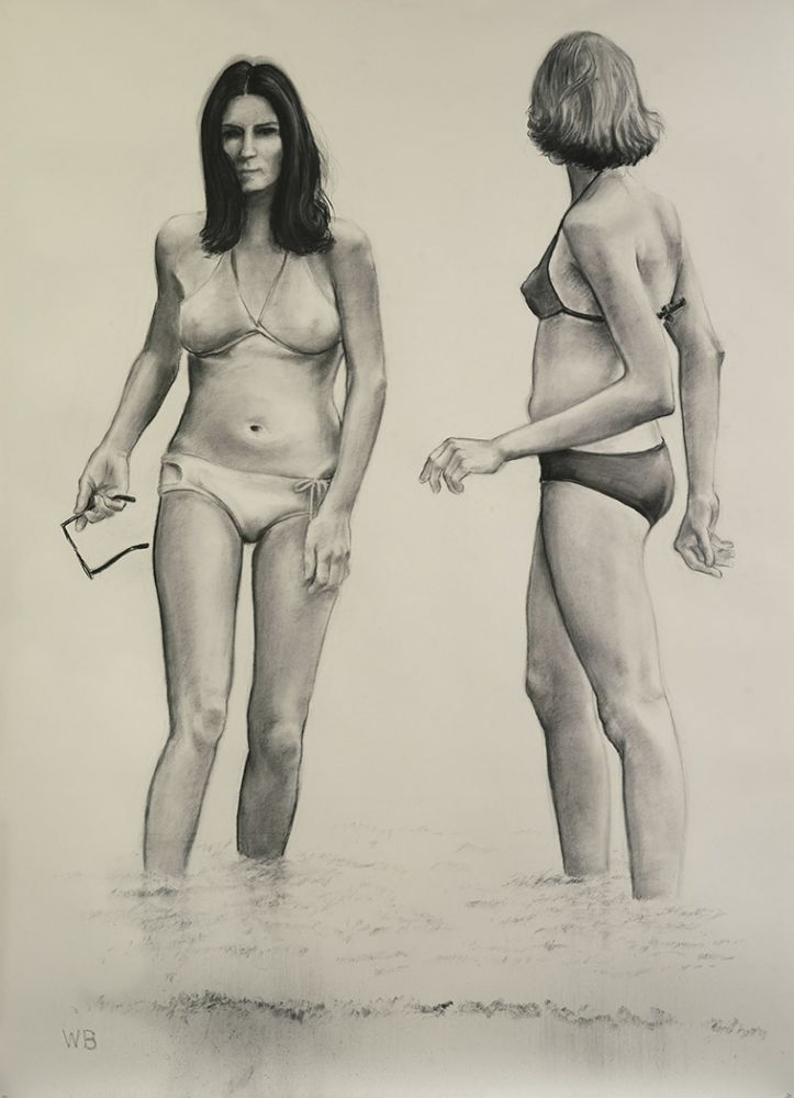 William Beckman Bathers, 2018 charcoal on paper 98 3/4 x 72 inches