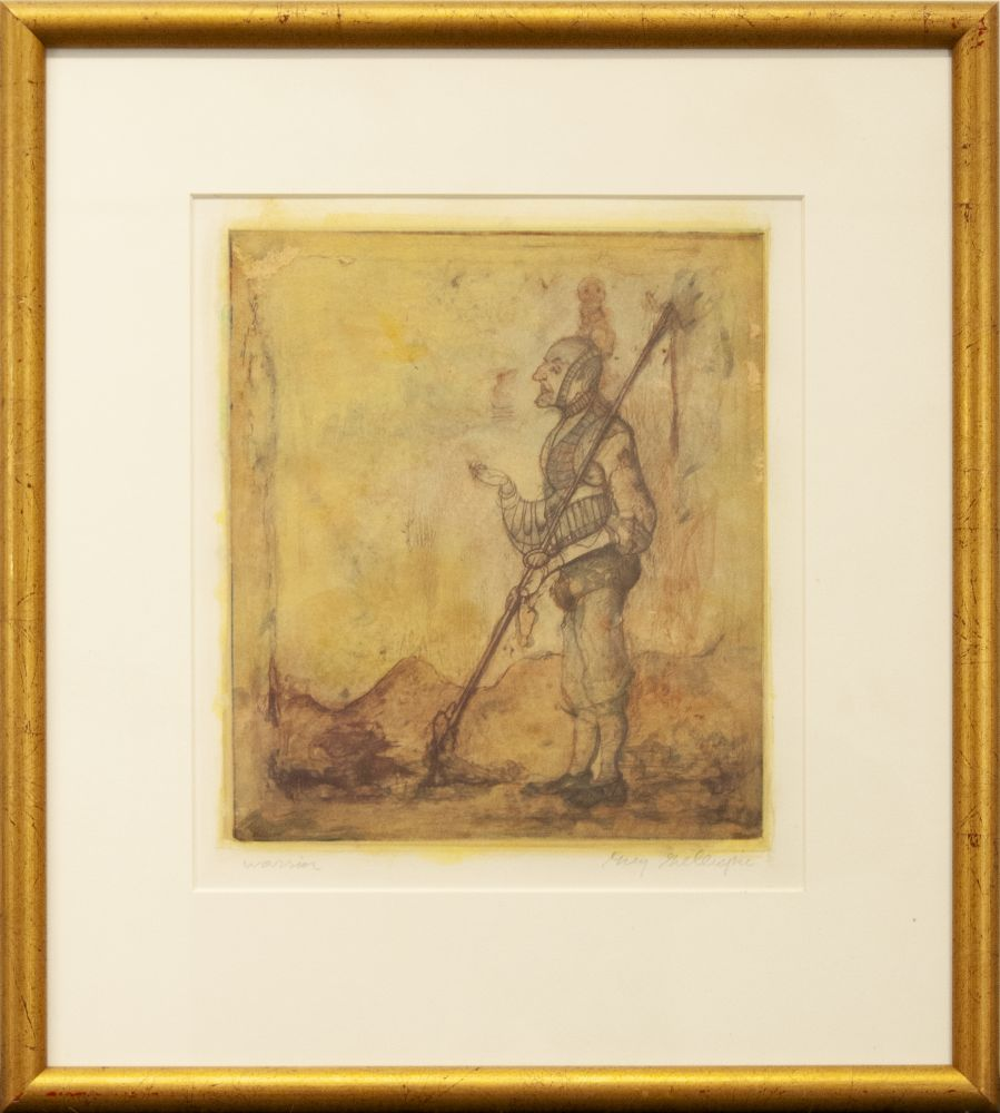 Gregory Gillespie, Warrior, nd, etching and wash, 9 3/4 x 8 3/8 inches