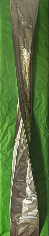 Green and Aluminum, 2010, oil on canvas, 98 1/4 x 19 5/8 inches