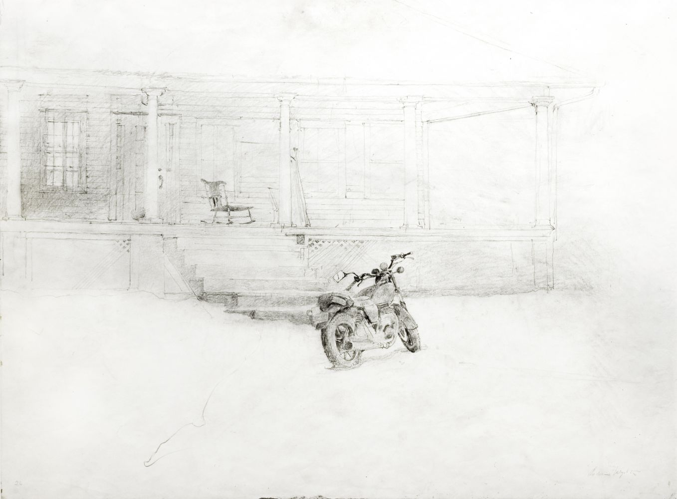 "Andrew Wyeth, Jimmy's Porch (Study for the tempera ""Drifting""), 1991, pencil on paper, 17 x 23 inches"