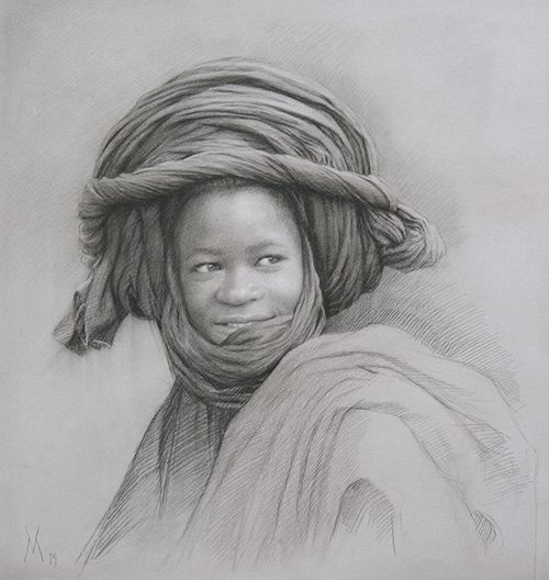 Guillermo Muñoz Vera, Young Man from Mali, 2019, conte pencil and charcoal on paper, 20 7/8 x 19 5/8 inches