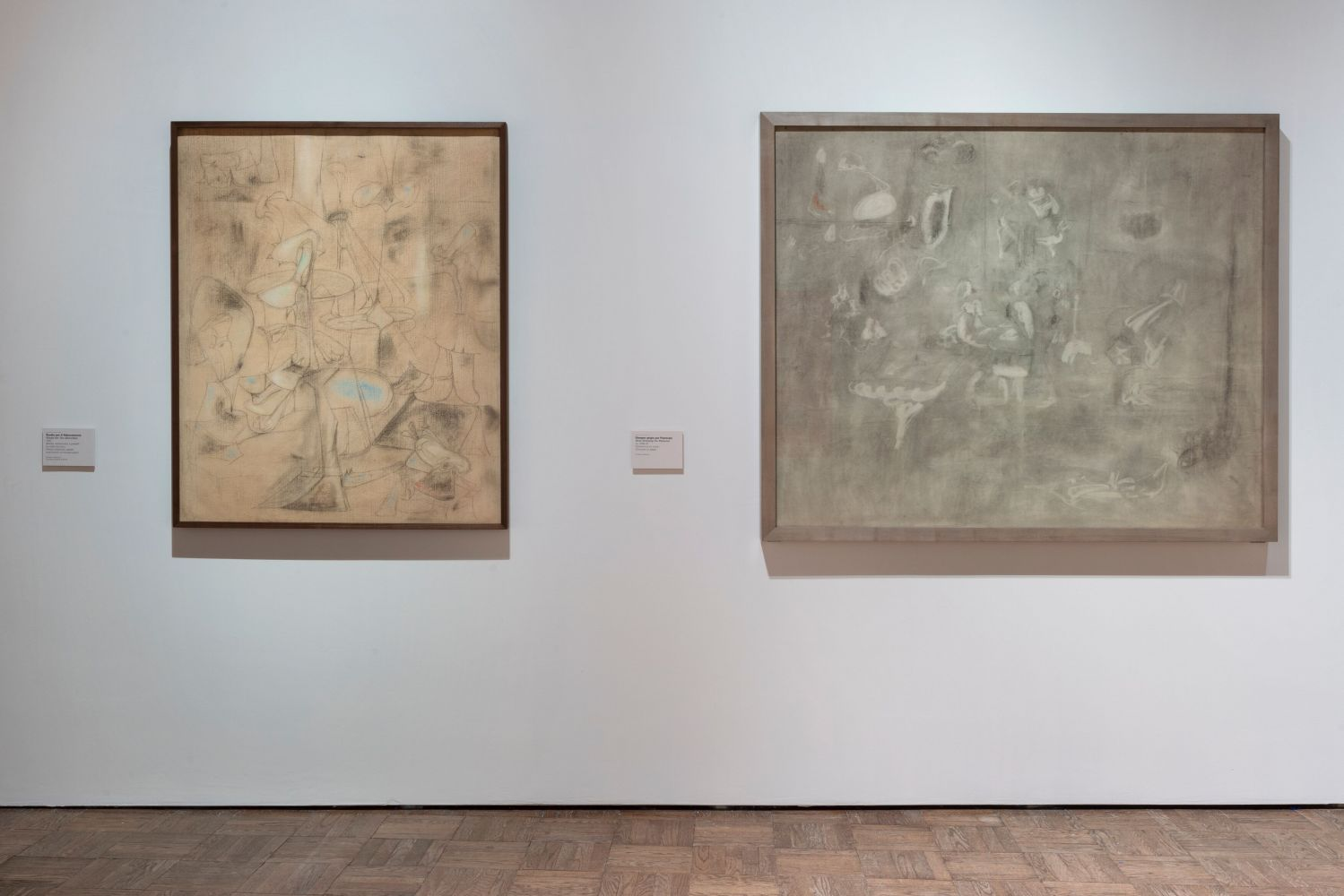 Installation photograph showing two charcoal drawings by Gorky: The Betrothal and Pastoral